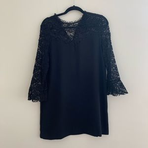 Zara Lace Long Sleeve Black Dress Sz M